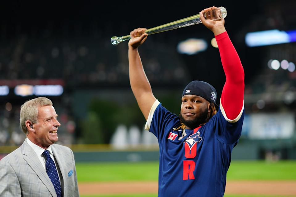 Blue Jays star Vladimir Guerrero Jr. became the youngest ever MLB All-Star Game MVP after socking a massive 468-foot dinger in the third inning. (Getty Images)