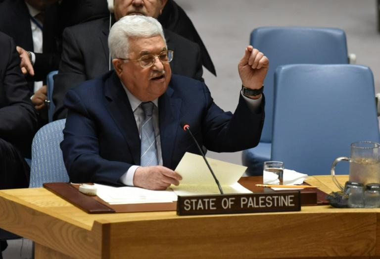 Palestinian leader Mahmud Abbas speaks at the United Nations Security Council on February 20, 2018 in New York