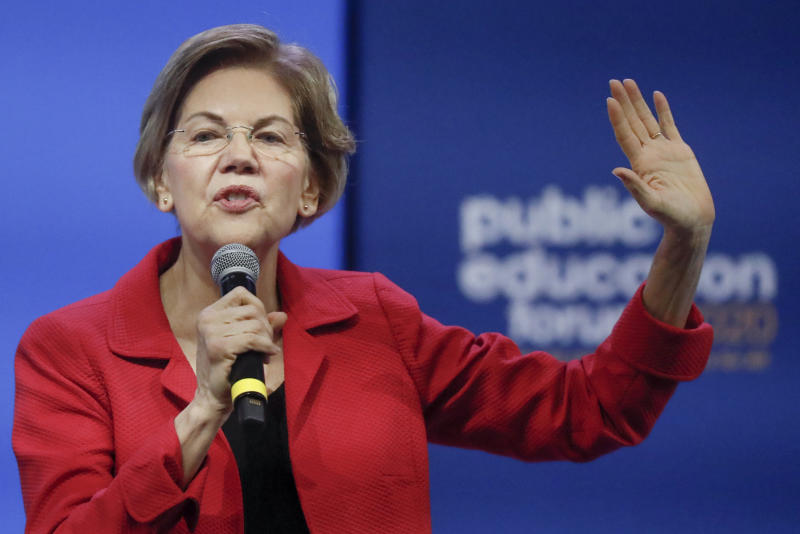 Democratic presidential candidate Sen. Elizabeth Warren, D-Mass, one of seven scheduled Democratic candidates participating in a public education forum, gives her opening statement, Saturday, Dec. 14, 2019, in Pittsburgh. Topics at the event planned for discussion ranged from student services and special education to education equity and justice issues. (AP Photo/Keith Srakocic)