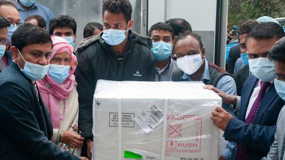 Delivery of AstraZeneca vaccine produced in India, arriving in Bangladesh