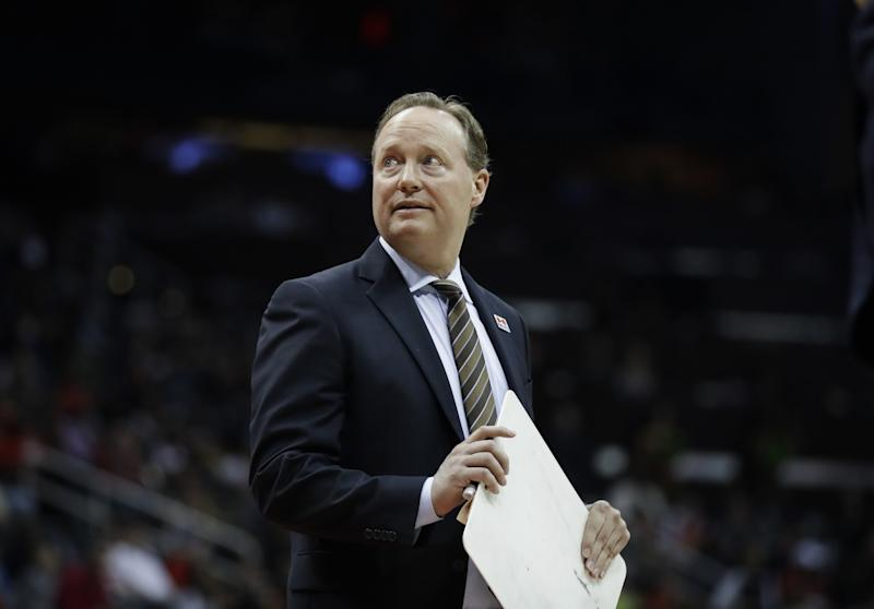 Mike Budenholzer coached the Hawks to 43 wins this season. (AP)
