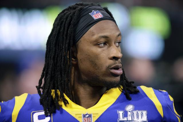 "The trainer for Los Angeles Rams' Todd Gurley II said the running back has an ""arthritic component"" to his knee that needs to be managed. (AP)"