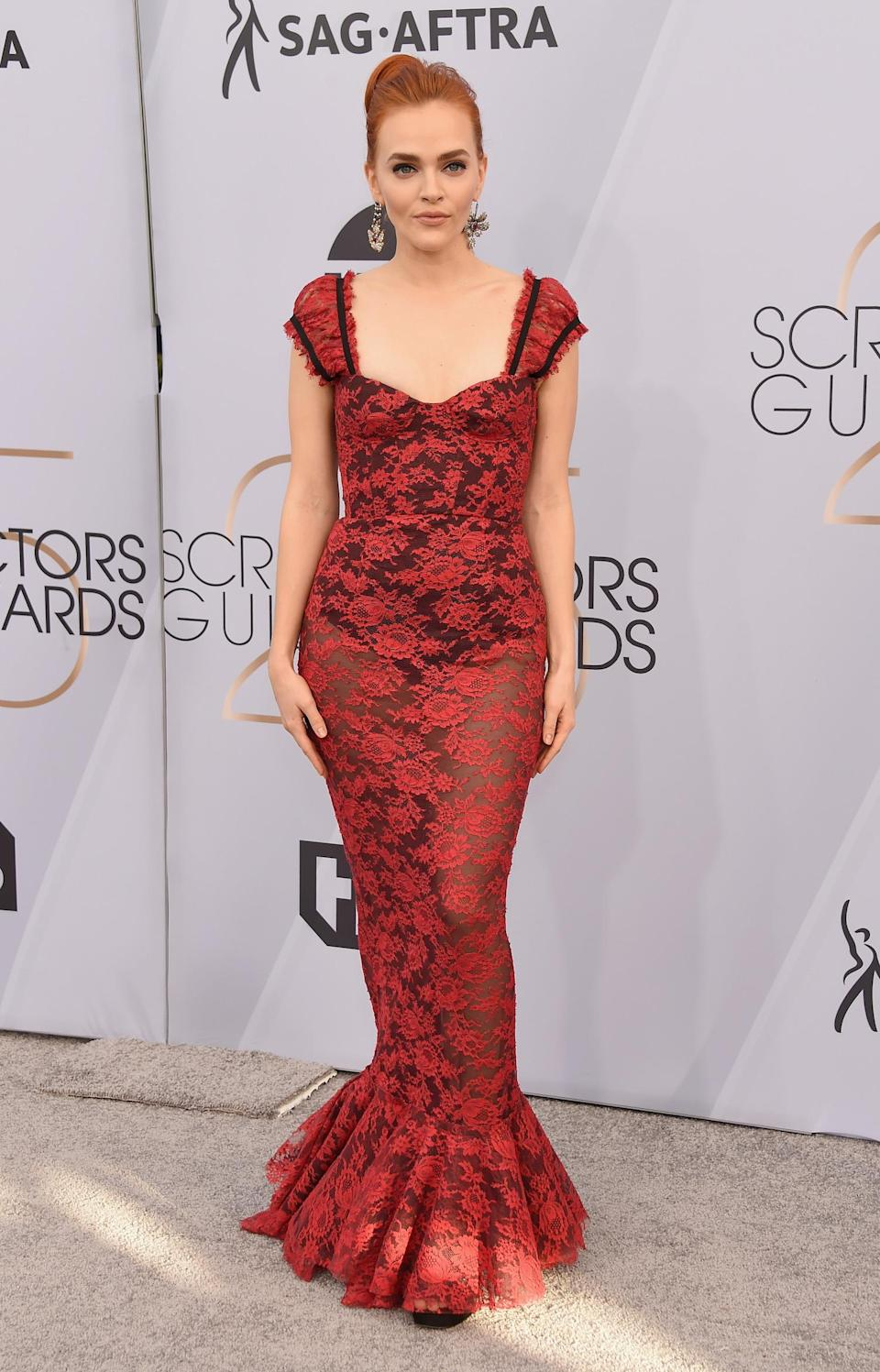 <p>Madeline Brewer stepped out in red at the 2019 Screen Actors Guild Awards in Los Angeles. (Photo: Getty Images) </p>