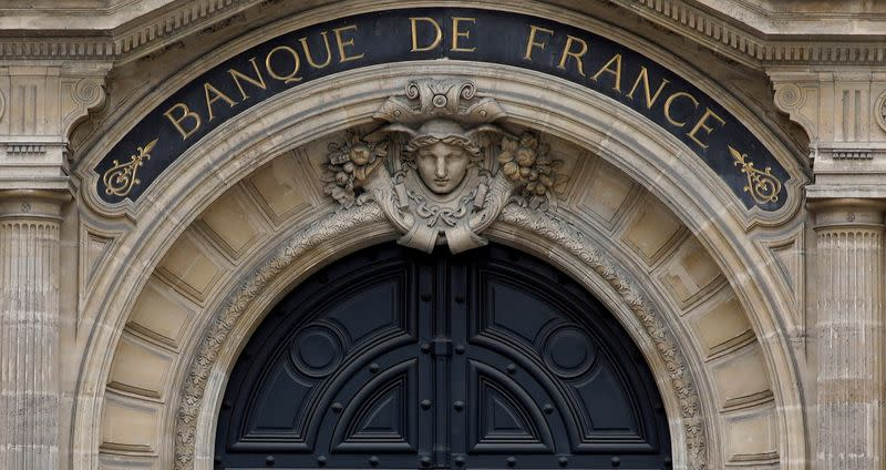 """FILE PHOTO: Facade of the Bank of France """"Banque de France"""" headquarters in Paris"""