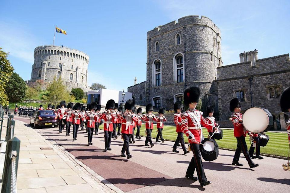 <p>Before the funeral, members of the military marched around the Windsor Castle grounds. </p>