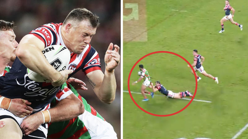 Brett Morris stunned the NRL world with a brilliant double tackle (pictured right) against the Rabbitohs. (Images: Getty Images/Fox Sports)