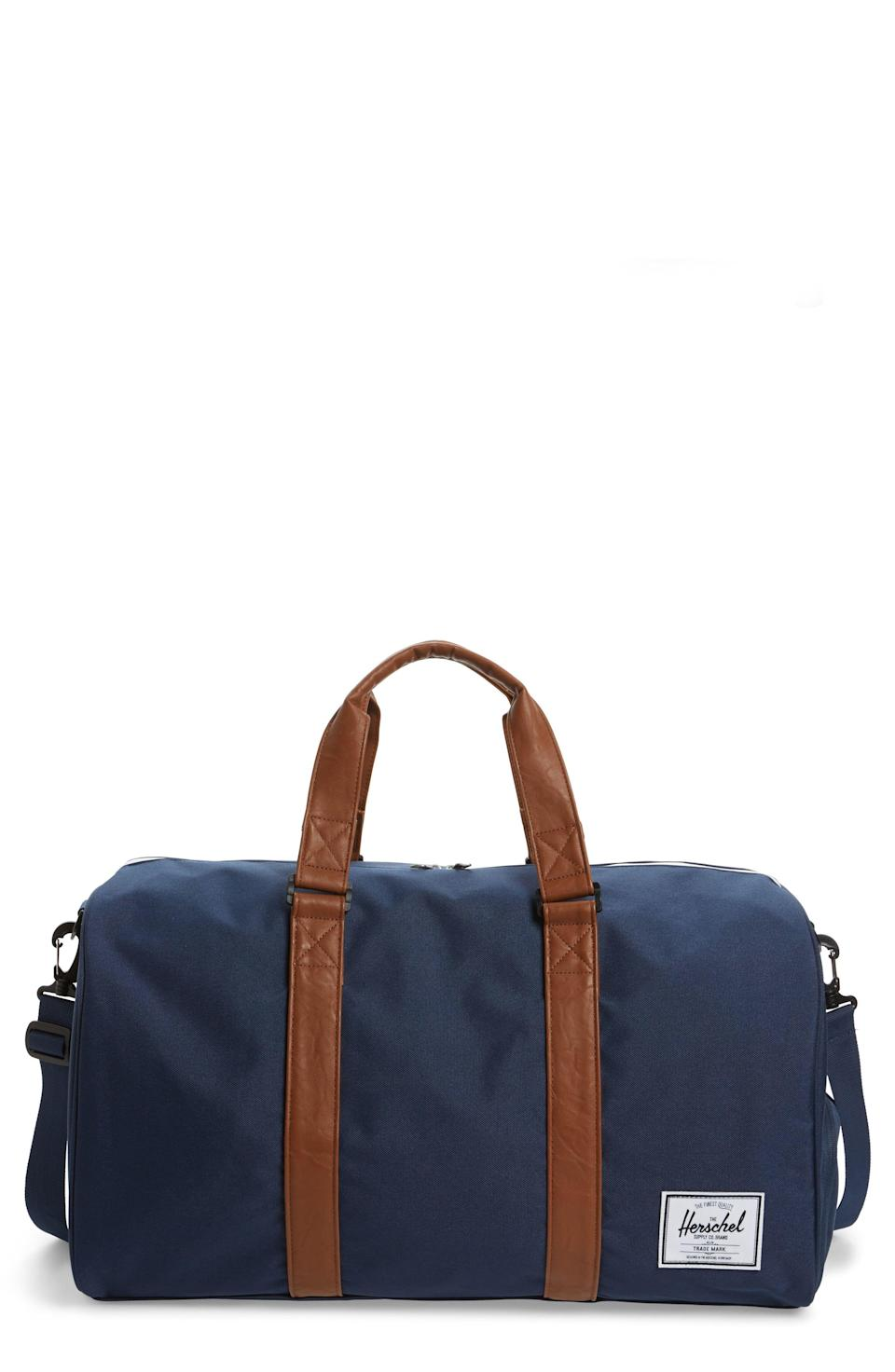 """<p><strong>HERSCHEL SUPPLY CO.</strong></p><p>nordstrom.com</p><p><strong>$54.00</strong></p><p><a href=""""https://go.redirectingat.com?id=74968X1596630&url=https%3A%2F%2Fshop.nordstrom.com%2Fs%2Fherschel-supply-co-duffle-bag%2F5587219&sref=https%3A%2F%2Fwww.goodhousekeeping.com%2Fholidays%2Fgift-ideas%2Fg399%2Fgifts-for-men%2F"""" rel=""""nofollow noopener"""" target=""""_blank"""" data-ylk=""""slk:Shop Now"""" class=""""link rapid-noclick-resp"""">Shop Now</a></p><p>Help him travel in style with this bag from Herschel Supply Co., which is just as functional as it is fashionable. There's even a special compartment to store his smelly sneakers, in case he prefers to use it as a gym bag. </p>"""