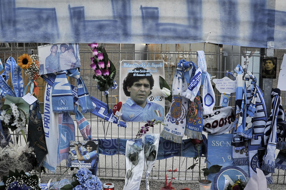 Memories of Diego Armando Maradona left outside the San Paolo stadium by the fans, to remember his death.