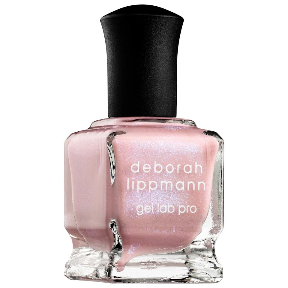 "<p>We're kind of obsessed with this sparkly <a href=""https://www.popsugar.com/buy/Deborah-Lippman-Gel-Lab-Pro-Nail-Polish-Delicate-556821?p_name=Deborah%20Lippman%20Gel%20Lab%20Pro%20Nail%20Polish%20in%20Delicate&retailer=sephora.com&pid=556821&price=20&evar1=bella%3Aus&evar9=47308368&evar98=https%3A%2F%2Fwww.popsugar.com%2Fbeauty%2Fphoto-gallery%2F47308368%2Fimage%2F47308369%2FDeborah-Lippman-Gel-Lab-Pro-Nail-Polish-in-Delicate&list1=shopping%2Csephora%2Cnail%20polish%2Cnails%2Cspring%2Cbeauty%20shopping%2Cspring%20beauty&prop13=mobile&pdata=1"" rel=""nofollow"" data-shoppable-link=""1"" target=""_blank"" class=""ga-track"" data-ga-category=""Related"" data-ga-label=""https://www.sephora.com/product/gel-lab-pro-nail-polish-P404918?icid2=products%20grid:p404918&amp;skuId=2202349"" data-ga-action=""In-Line Links"">Deborah Lippman Gel Lab Pro Nail Polish in Delicate</a> ($20).</p>"