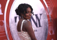 Adrienne Warren arrives at the 74th annual Tony Awards at Winter Garden Theatre on Sunday, Sept. 26, 2021, in New York. (Photo by Evan Agostini/Invision/AP)