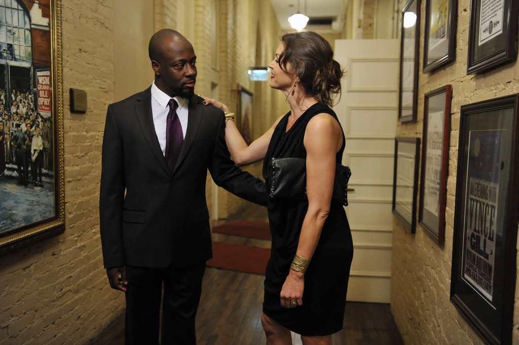"Wyclef Jean and Rya Kihlstedt in the ""Nashville"" episode, ""Lovesick Blues."""