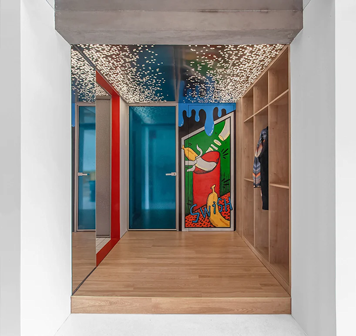 Bold graphic bedroom entryway inside the 000 Design-designed