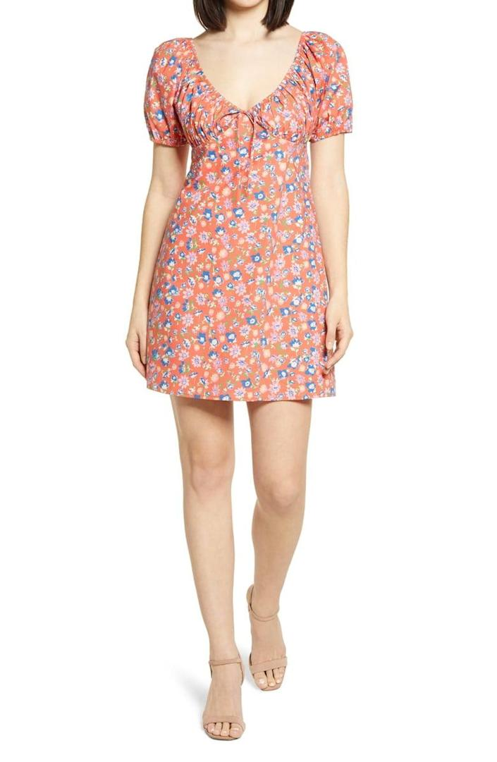 <p>This <span>WAYF Cruz Floral Minidress</span> ($69) comes complete with a matching scrunchie.</p>