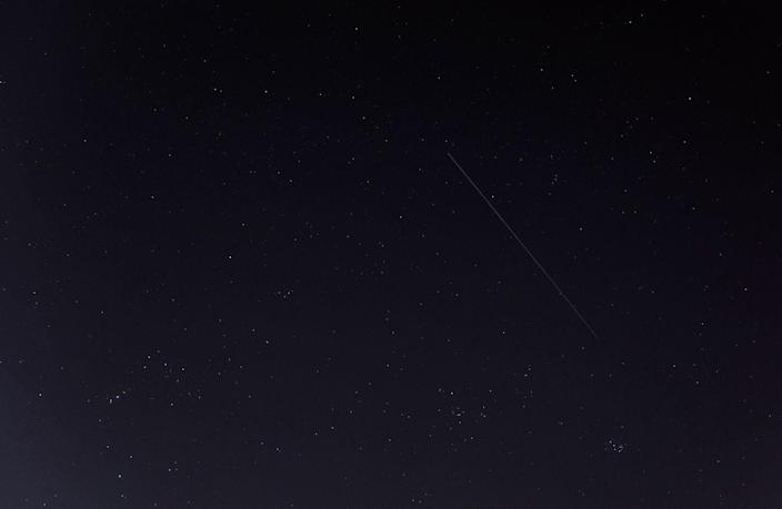 """This photo of China's Tiangong-1 space station module streaking overhead was captured by Gianluca Masi of the Virtual Telescope Project in Rome on March 9, 2018. The spacecraft will fall to Earth between March 30 and April 1. The constellations Orion, Auriga and Taurus are also visible. <cite>Gianluca Masi/<a href=""""http://www.virtualtelescope.eu"""" rel=""""nofollow noopener"""" target=""""_blank"""" data-ylk=""""slk:Virtual Telescope Project"""" class=""""link rapid-noclick-resp"""">Virtual Telescope Project</a></cite>"""
