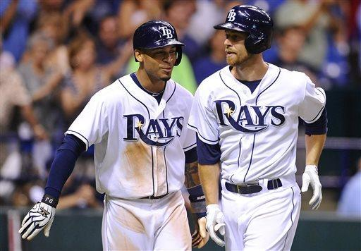 Tampa Bay Rays' Ben Zobrist, right, and Desmond Jennings celebrate after both scoring off of Zobrist's two-run home run during the seventh inning of a baseball game against the Minnesota Twins Monday, July 8, 2013, in St. Petersburg, Fla. (AP Photo/Brian Blanco)