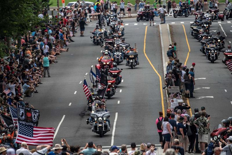 Bikers take part in the