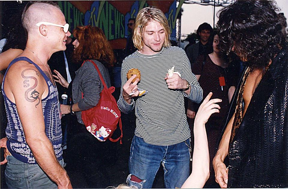 <p>Flea of Red Hot Chili Peppers and Kurt Cobain of Nirvana attend the 1993 MTV Video Music Awards in Los Angeles, CA.</p>