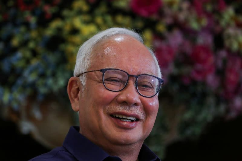 Malaysia's former Prime Minister Najib Razak reacts during an interview with Reuters in Kuala Lumpur