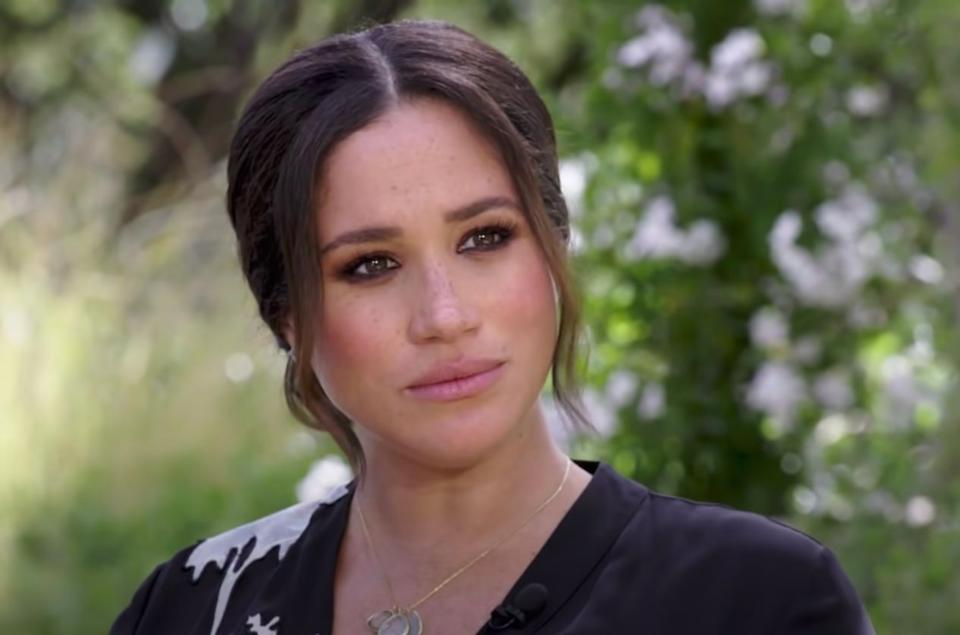 The Duchess of Sussex, pictured during her interview with Oprah Winfrey. (Photo: CBS)
