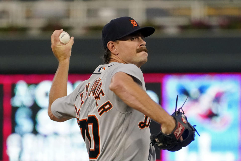Detroit Tigers pitcher Tyler Alexander throws against the Minnesota Twins in the first inning of a baseball game, Tuesday, Sept. 28, 2021, in Minneapolis. (AP Photo/Jim Mone)