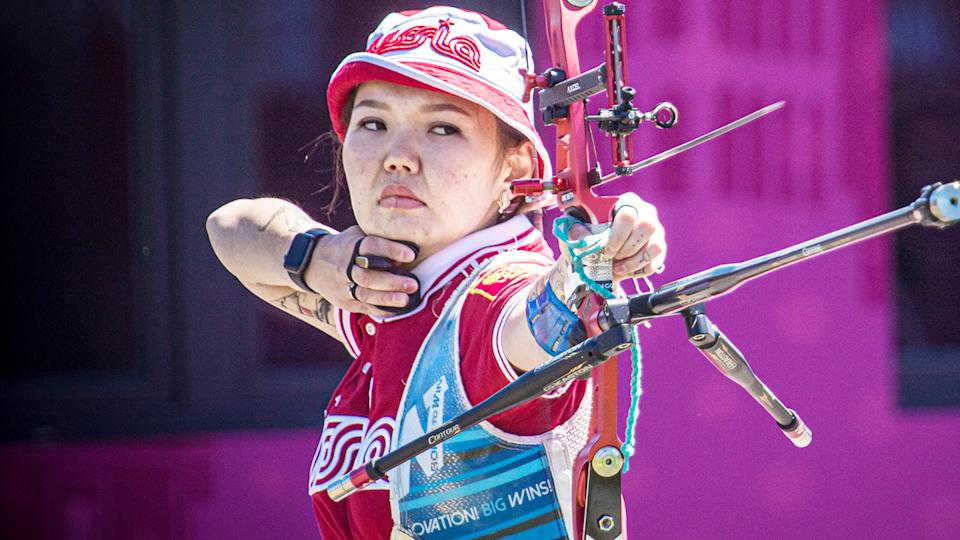 Svetlana Gomboeva, pictured here in action at the Archery World Cup in May.