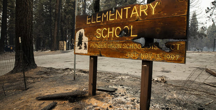 Walt Tyler Elementary School, Wednesday, Aug. 18, 2021, in Grizzly was destroyed in the Caldor Fire. (Santiago Mejia/San Francisco Chronicle via Getty Images)