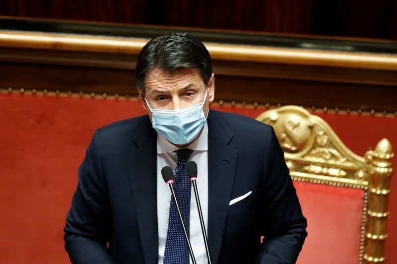 Italian PM Conte faces a confidence vote at the upper house of parliament, in Rome