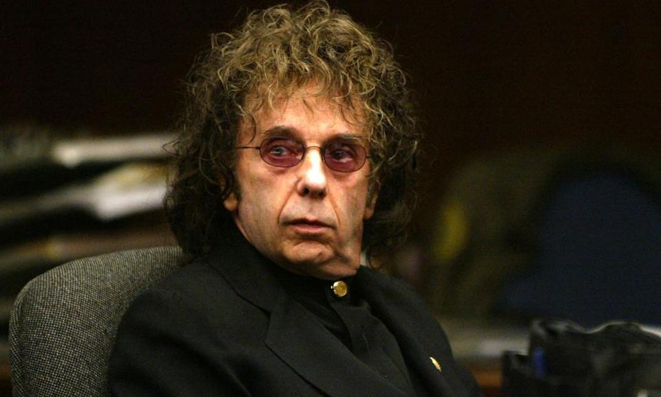 Phil Spector in court in California in 2004, charged with the 2003 shooting of Lana Clarkson at his home.