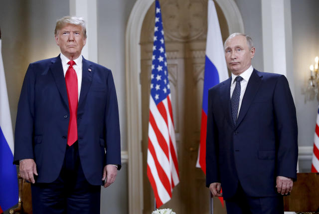 Donald Trump and Vladimir Putin before their meeting at the Presidential Palace in Helsinki, July 16, 2018. (Photo: Pablo Martinez Monsivais/AP)