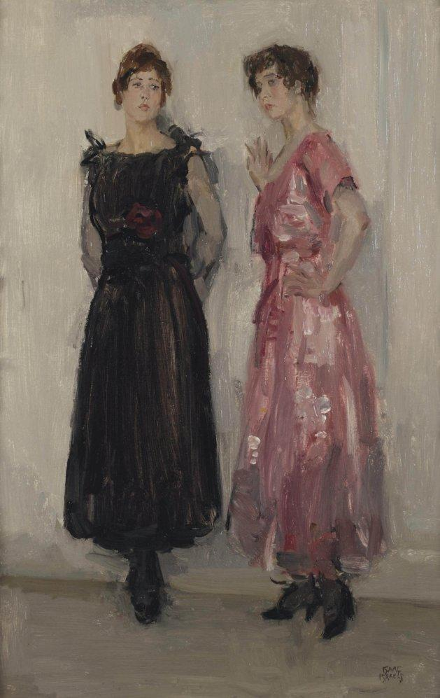 """Ippy and Gertie Posing at Fashion House Hirsch, Amsterdam,"" ca. 1916, by Dutch painter Isaac Israels. The woman on the left is wearing a boatneck dress."