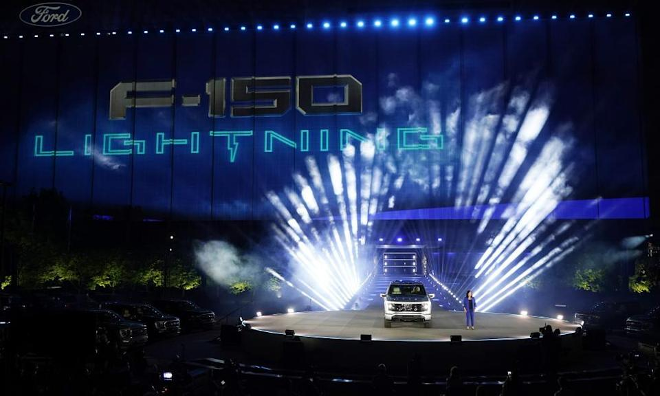 Ford's chief executive engineer Linda Zhang unveils the Ford F-150 Lightning in Dearborn on Wednesday.