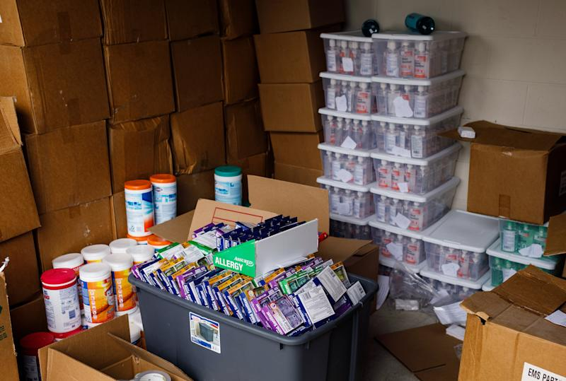 Hand sanitizer and other supplies in demand due to coronavirus concerns that Matt Colvin was selling online until Amazon and other sites started cracking down on price gouging, in Hixson, Tenn., March 12, 2020. (Doug Strickland/The New York Times)