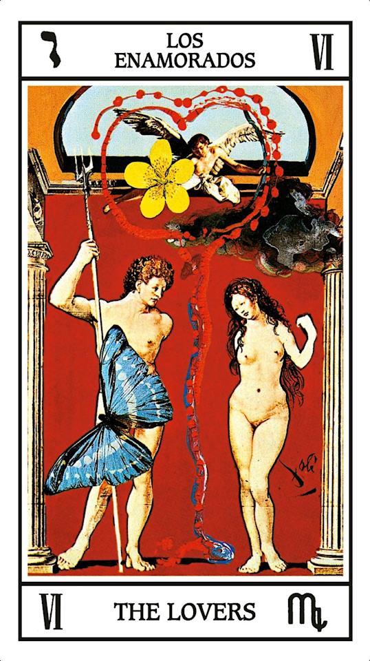 """The image that inspired Dalí's Lovers—<em>Neptune and Amphirite</em> by Mabuse—dates back to 1516, making it nearly as old as tarot reading itself. This card encourages those who draw it to treasure uniqueness in themselves and their partner. """"The more pronounced the distinctions, the more precious the points of harmony,' writes Fiebig."""