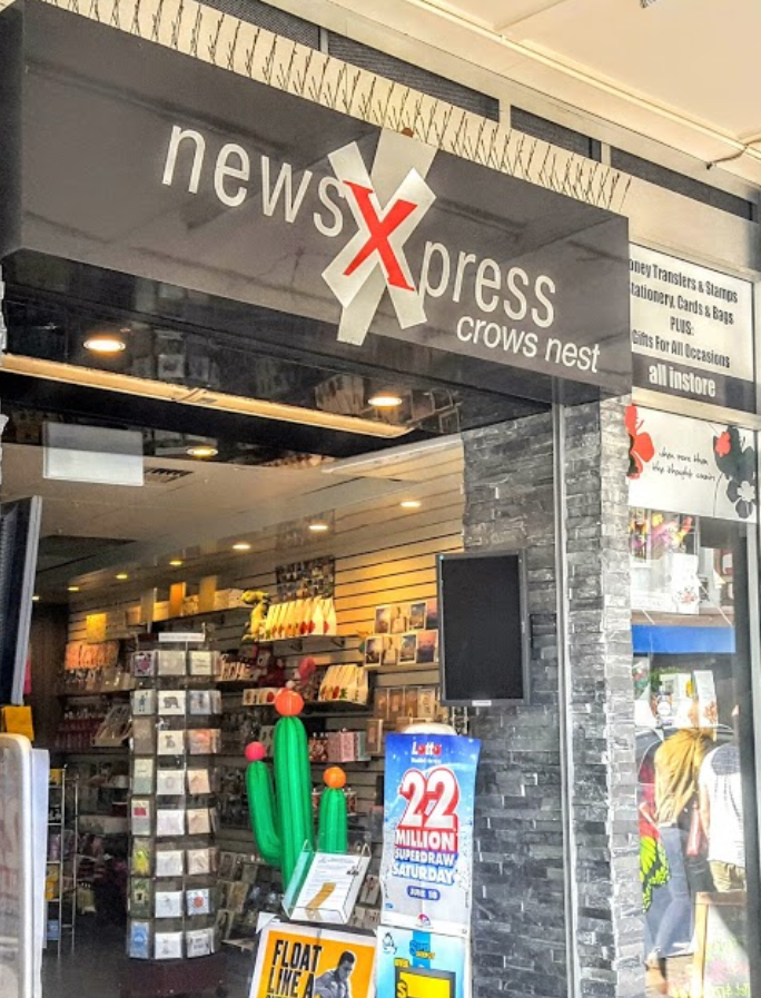 Front of newsXpress in Crows News, north of Sydney, shown after it sold an Oz Lotto ticket worth $10 million.