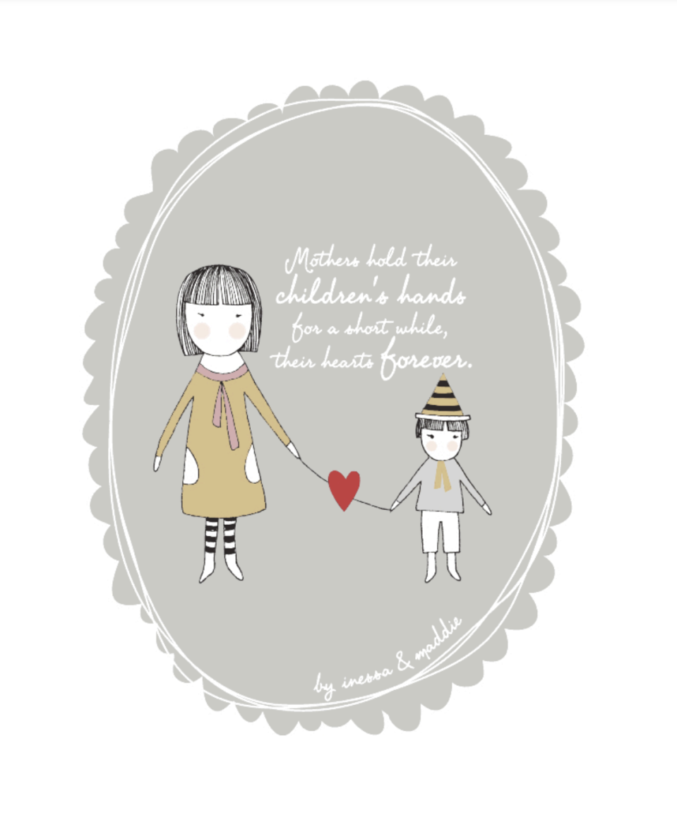 "<p>Even when you grow up and there's distance between you and Mom, you're in each other's hearts. A great reminder for mother and child alike. </p><p><em><strong>Get the printable at <a href=""http://diaperstylememoirs.blogspot.com/2011/05/mothers-day-art-free-download.html"" rel=""nofollow noopener"" target=""_blank"" data-ylk=""slk:Diaper Style Memoirs"" class=""link rapid-noclick-resp"">Diaper Style Memoirs</a>.</strong></em></p>"