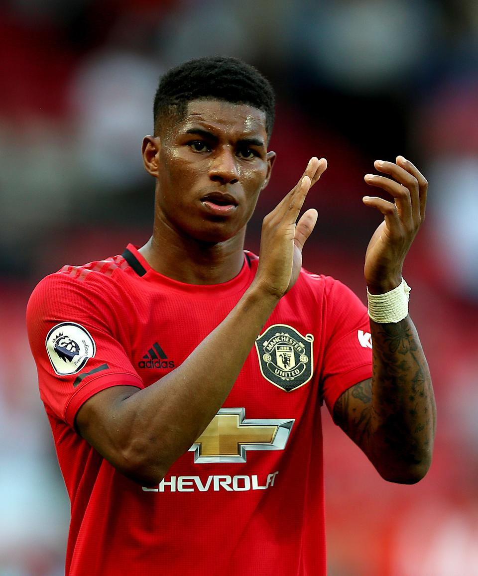"""File photo dated 24/08/2019 of Manchester United's Marcus Rashford. Pressure is ramping up on Boris Johnson to do a U-turn on free school meals, with a senior Tory saying the Government has """"misunderstood"""" the mood of the country."""