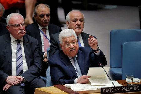 FILE PHOTO: Palestinian President Mahmoud Abbas speaks during a meeting of the UN Security Council at UN headquarters in New York, U.S., February 20, 2018. REUTERS/Lucas Jackson/File Photo