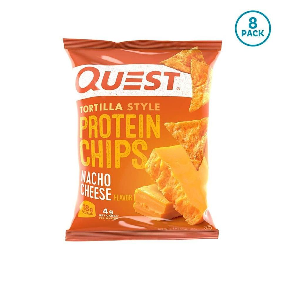 "<p>If you like Doritos, you've got to try these <a href=""https://www.popsugar.com/buy/Quest-Nutrition-Tortilla-Style-Protein-Chips-551008?p_name=Quest%20Nutrition%20Tortilla%20Style%20Protein%20Chips&retailer=amazon.com&pid=551008&price=25&evar1=fit%3Aus&evar9=45752863&evar98=https%3A%2F%2Fwww.popsugar.com%2Fphoto-gallery%2F45752863%2Fimage%2F45752872%2FHealthy-Chip-Option&list1=shopping%2Camazon%2Chealthy%20snacks%2Csnacks%2Clow%20calorie%2Clow-carb&prop13=api&pdata=1"" class=""link rapid-noclick-resp"" rel=""nofollow noopener"" target=""_blank"" data-ylk=""slk:Quest Nutrition Tortilla Style Protein Chips"">Quest Nutrition Tortilla Style Protein Chips</a> ($25 for 12). They're a lighter version of your beloved chips. Good luck not finishing the whole bag.</p>"