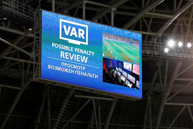 Soccer Football - World Cup - Group B - Iran vs Portugal - Mordovia Arena, Saransk, Russia - June 25, 2018 General view as a penalty decision was referred to VAR and a penalty was subsequently awarded after Portugal's Cristiano Ronaldo was fouled in the penalty area by Iran's Saeid Ezatolahi REUTERS/Matthew Childs