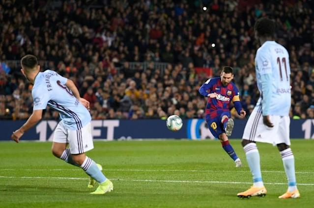 Lionel Messi scored a hat-trick as Barcelona beat Celta Vigo 4-1 on Saturday (AFP Photo/Josep LAGO)