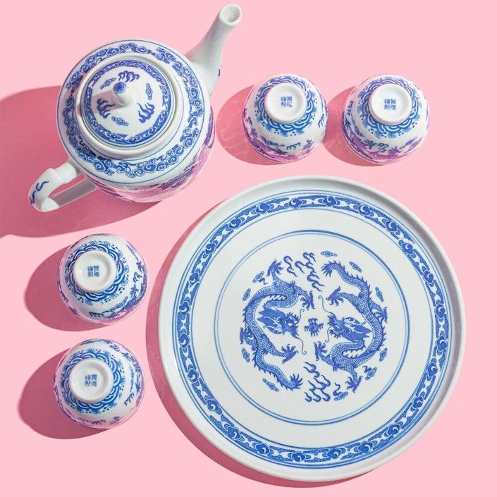 """<p><strong>Blue and White Teaset </strong></p><p>wingonwoand.co</p><p><strong>$50.00</strong></p><p><a href=""""https://www.wingonwoand.co/shop/blue-and-white-teaset"""" rel=""""nofollow noopener"""" target=""""_blank"""" data-ylk=""""slk:Shop Now"""" class=""""link rapid-noclick-resp"""">Shop Now</a></p><p>Dating back to the 1890s, <a href=""""https://www.wingonwoand.co/"""" rel=""""nofollow noopener"""" target=""""_blank"""" data-ylk=""""slk:Wing On Wo & Co."""" class=""""link rapid-noclick-resp"""">Wing On Wo & Co.</a> is the oldest continually run family business in New York's Chinatown. The landmark shop specializes in high-quality porcelainware along with vintage woodblock prints and pillows. Current owner Mei Lum has also launched the W.O.W. Project, which aims to grow and protect Chinatown's creative culture. </p>"""