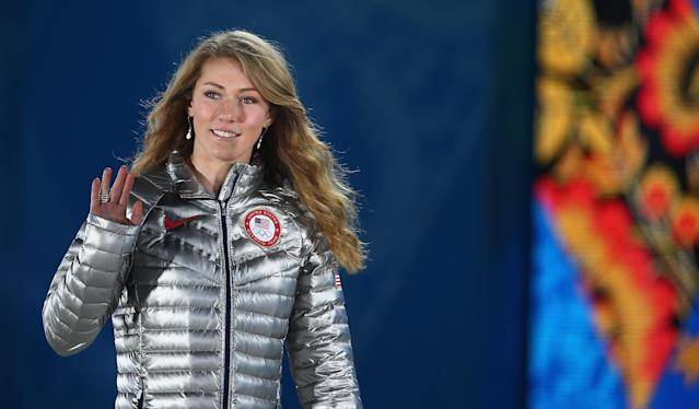 SOCHI, RUSSIA - FEBRUARY 22: Gold medalist Mikaela Shiffrin of the United States celebrates during the medal ceremony for the Women's Slalom on Day 15 of the Sochi 2014 Winter Olympics at Medals Plaza on February 22, 2014 in Sochi, Russia. (Photo by Clive Mason/Getty Images)