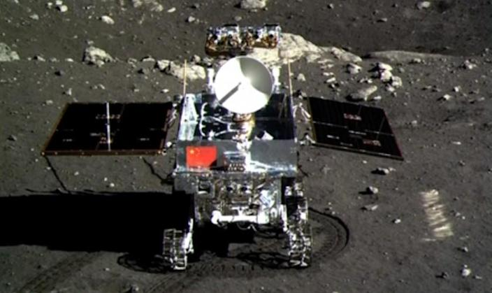 This screen grab taken from a CCTV footage shows a photo of the Jade Rabbit moon rover taken by the Chang'e-3 probe lander on Dec. 15, 2013.