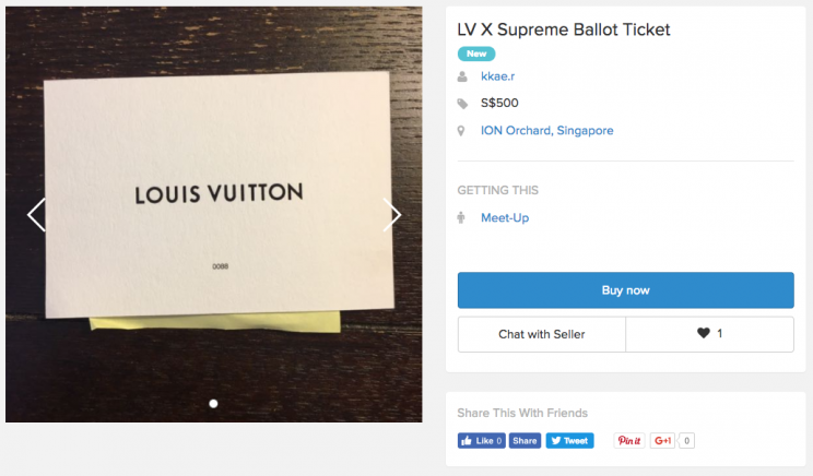 79c9cb99acf94 Ballot tickets needed to purchase items from the Louis Vuitton and Supreme  collaboration are being sold