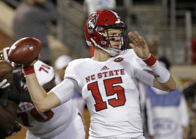 North Carolina State's Ryan Finley looks to pass against Wake Forest during the second half of an NCAA college football game in Winston-Salem, N.C., Saturday, Nov. 18, 2017. Wake Forest defeated N.C. State 30-24. (AP Photo/Chuck Burton)