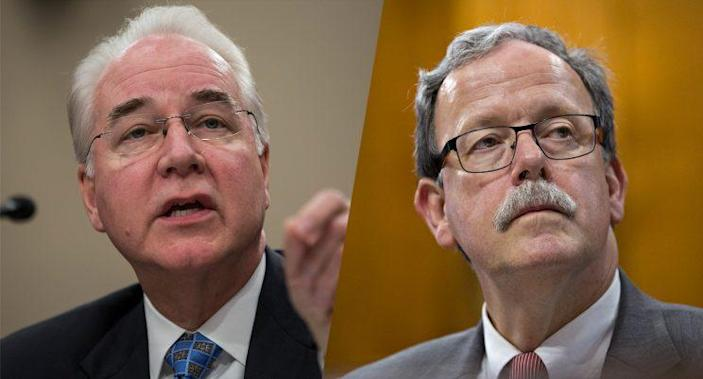 Secretary of Health and Human Services Tom Price, left, and Keith Hall, director of the Congressional Budget Office. (Photos: Zach Gibson/Getty Images-Andrew Harrer/Bloomberg via Getty Images)