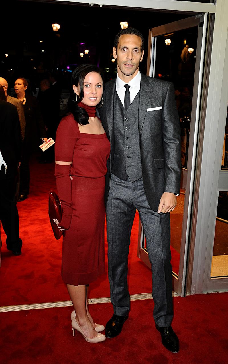 Rio Ferdinand and girlfriend Rebecca Ellison arriving for the world premiere of Dead Man Running at the Odeon West End, Leicester Square, London (Photo by Ian West/PA Images via Getty Images)