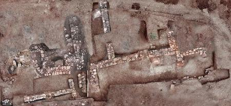 An aerial view of the archaeological excavation site near the village of Chiliomodi