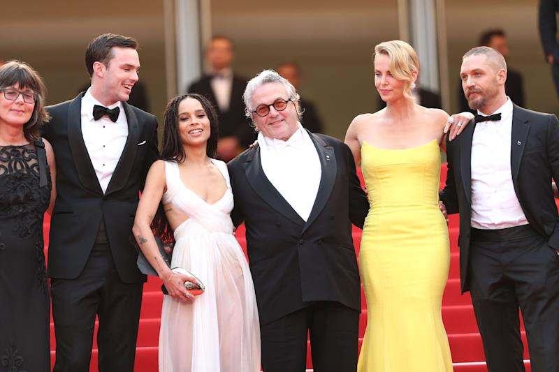 Margaret Sixel ,Nicholas Hoult, Zoe Kravitz, director George Miller, Charlize Theron, Tom Hardy, Nicholas Hoult, from left to right pose for photographers for the screening of the film Mad Max: Fury Road at the 68th international film festival, Cannes, southern France, Thursday, May 14, 2015. (AP Photo/Thibault Camus)