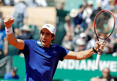 Tennis - Monte Carlo Masters - Monaco, 20/04/2017. Pablo Cuevas of Uruguay celebrates after defeating Stan Wawrinka of Switzerland. REUTERS/Eric Gaillard